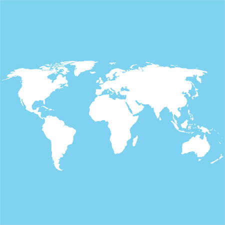 white blank world map. world map on blue background. generalized world map.