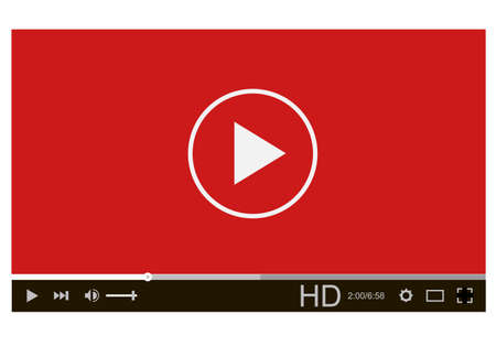 video player on white background. video player interface. video player for web and mobile apps. video online content mockup.