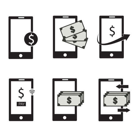 mobile money icon set on white background. smartphone and dollar sign. financial, mobile payment and money transfer symbols. flat style.