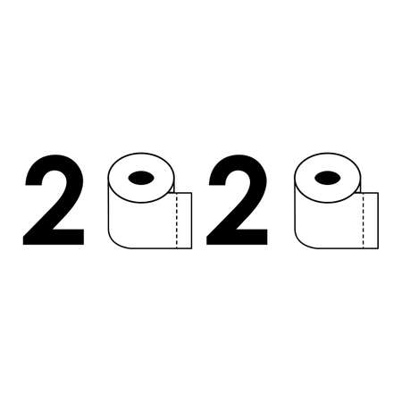 2020 Toilet Paper on white background. Quarantine 2020 with toilet paper. Coronavirus panic 2020 concept. Toilet paper roll sign.
