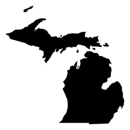 Michigan map icon on white background. Michigan black state border map. Black map state USA - Michigan sign.