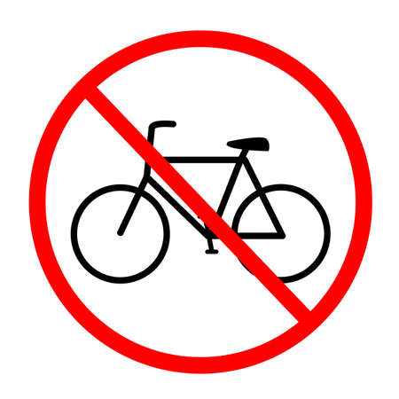 No bicycles warning sign. No Bikes symbol on white background. No bicycle parking sign in circle. Ilustração