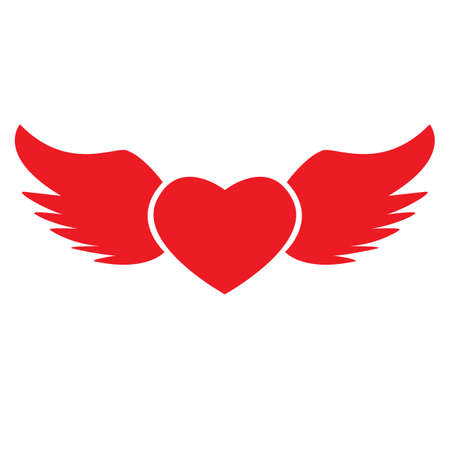 heart with wings icon on white background. flat style. valentines and love symbol. valentines sign. Ilustração