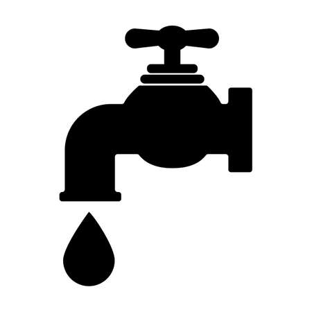 water tap icon on white background. tap with a drop of water sign. water tap symbol. flat style. Ilustração