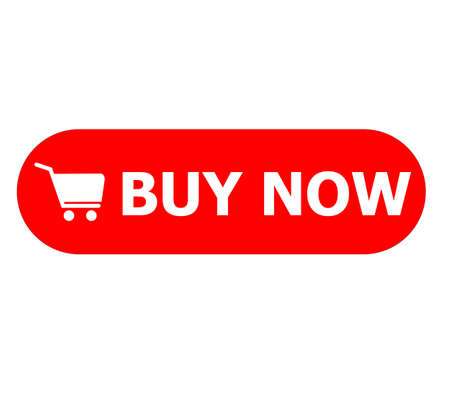 buy now button on white background. buy now sign. red buy now button with shopping cart symbol. flat style. Ilustração