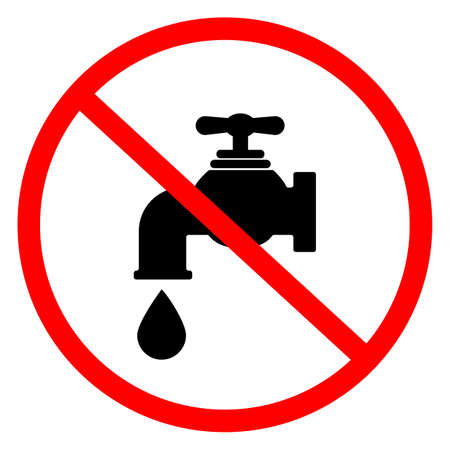 no water icon on white background. stop water leak symbol. do not drink water sign. flat style. Ilustração