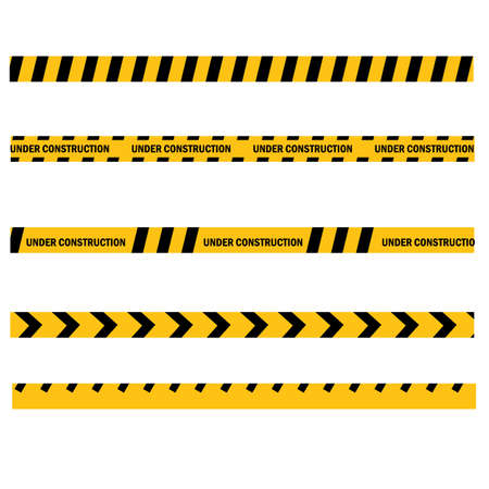 caution yellow tape construct warning line on white background. website developed and not temporarily working for visitors. Under construction zone symbol. flat style. Ilustração
