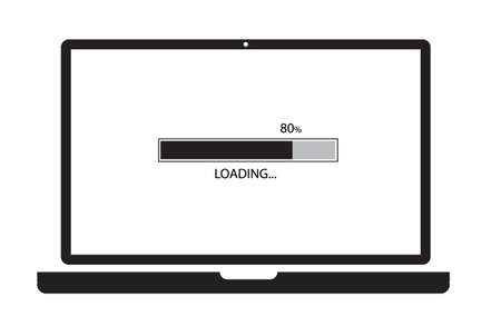 loading process in laptop screen on white background. update computer system sign. system software update and upgrade concept. flat style. Ilustração