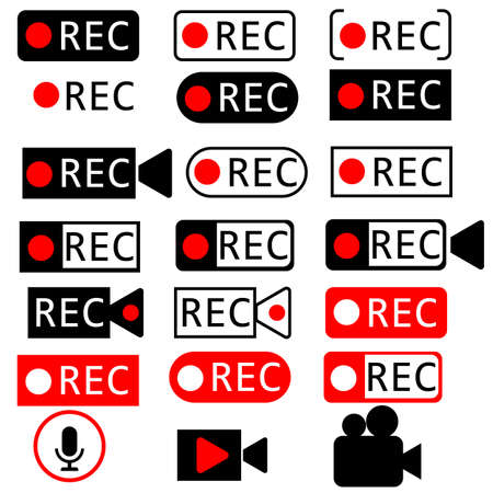 set red recording on white background. recodring symbol. video recording sing. recording audio sign. livestream logo.