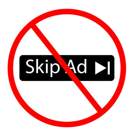 please do not skip ad icon on white background. no skip sign. flat style. not skip ad symbol.