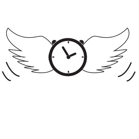 time flies icon on white background. flat style. time sign. time flies wing symbol.