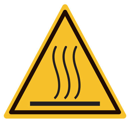 hot surface warning sign. beware hot symbol. caution hot surface icon on white background. flat style.