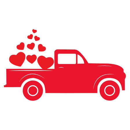 Happy Valentine's Day Red Vintage Truck with Hearts. Happy Valentines sign. Valentines Vintage Truck symbol.