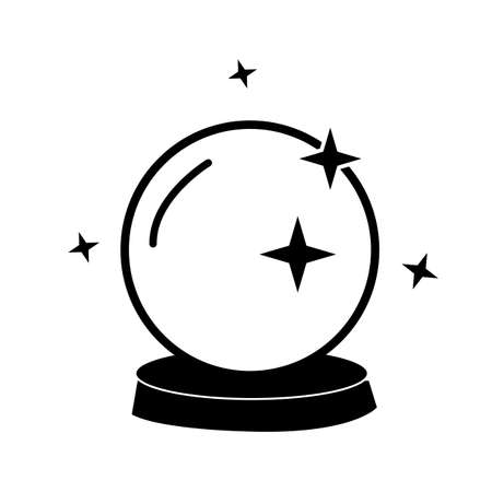 crystal ball icon on white background. flat style. halloween crystal ball sign. Magic ball symbol.