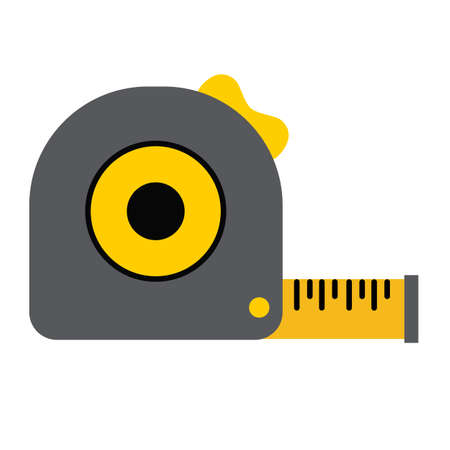 measuring tape tool icon on white background. flat style. roll ruler sign. magic ball symbol.