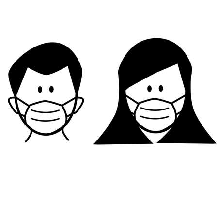 man and woman in medical face protection mask.  personal protective equipment. face mask use. flat style. 版權商用圖片 - 162995394