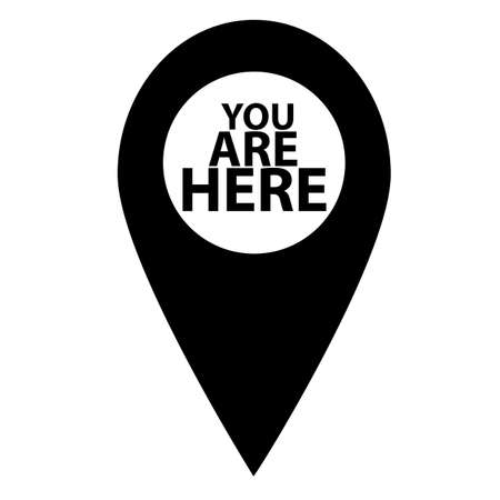 you are here icon on white background. map pointer sign. marker location icon with you are here. map pin symbol.