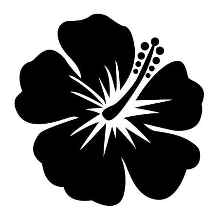 hibiscus icon on white background. hibiscus flower sign. black Hibiscus flower symbol. flat style. Çizim