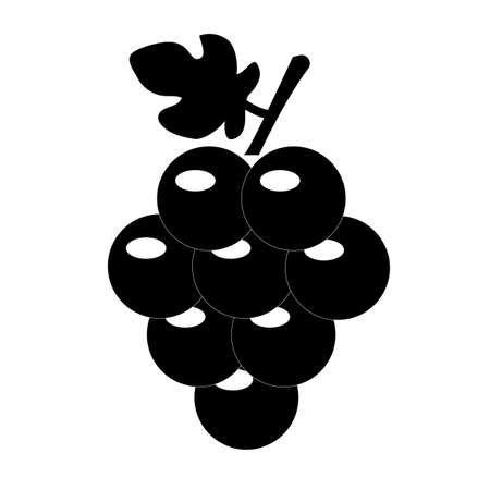 grapes icon on white background. grapes fruit sign. grapevine with leaf symbol. flat style.