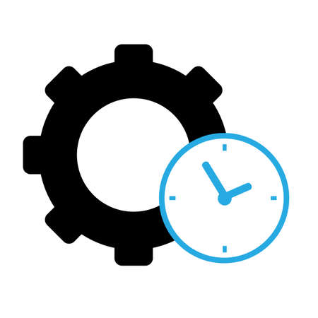 time management icon on white background. productivity sign. flat style. cogwheel with clock symbol.
