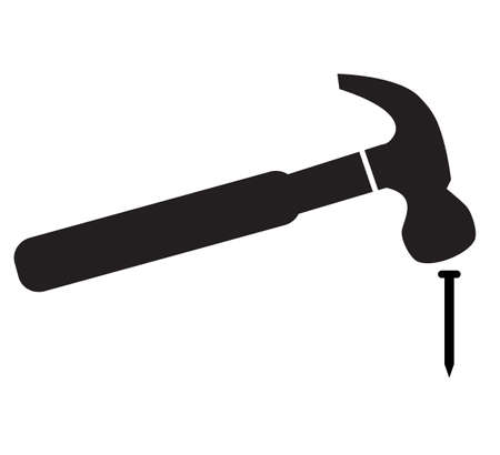 hammer hitting nail icon on white background. flat style. hammer and nail symbol. hammer logo. hammer striking a nail sign.