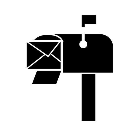 mailbox icon on white background. flat style. mailbox symbol. e mail marketing logo. envelope mail in mailbox sign.