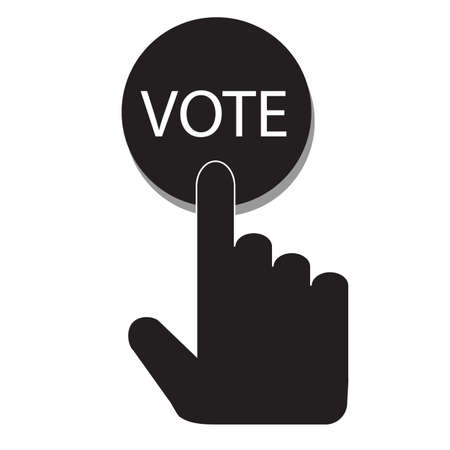 Hand pressing a button with the text VOTE icon on white background. flat style. Voting sign. polling sign. ballot symbol. Ilustração