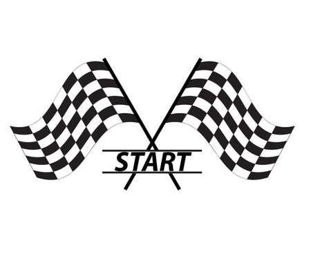 start icon on white background. flat style. race flag sign. start symbol.