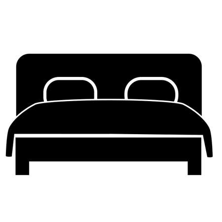 double bed icon on white background. double bed sign. flat style. double hotel room symbol.