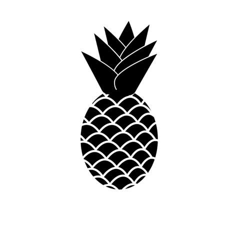 pineapple icon on white background. black pineapple sign. flat style. healthy fruit symbol. 일러스트