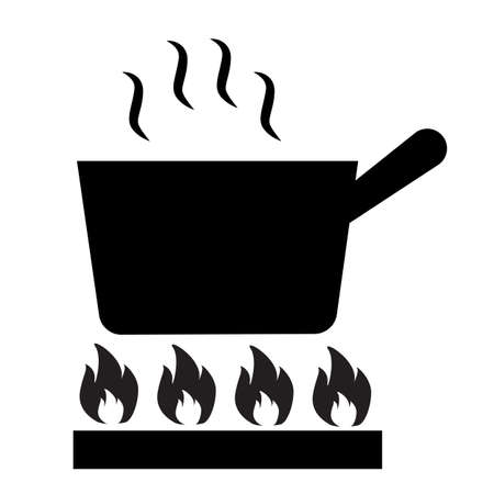 pan heating icon on white background. flat style. pan on gas Icon sign. frying pan on fire symbol.