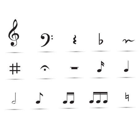 set of musical notes and symbols. set of music notes on white background. music notes collection.