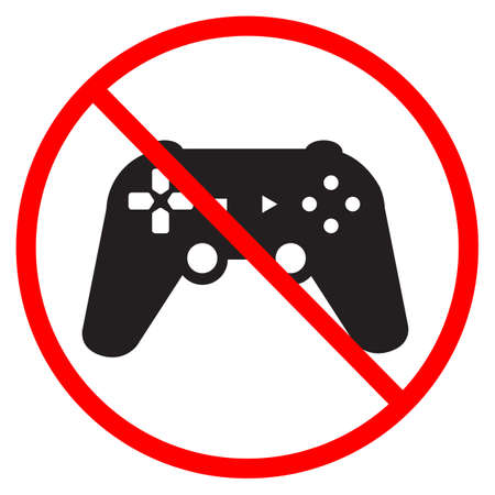 no play a game icon on white background. do not play a game sign. forbidden gaming symbol. banned joystick sign. flat style. Ilustração