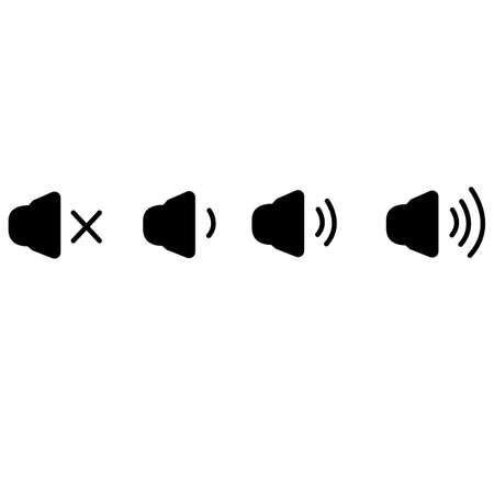 set of sound icons on white background. speaker volume icons with sound waves sign. icon that increases and reduces the sound. flat style.