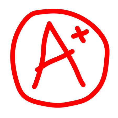 grade result A plus icon on white background. A plus in red circle. marl A+ sign. hand drawn vector grade with plus in circle.