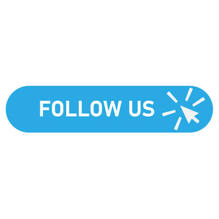follow us banner icon on white background. follow us with cursor button sign. flat style. label with cursor button symbol. Ilustração