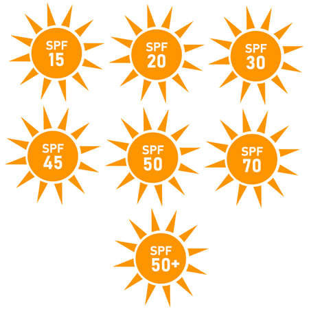 sun protection sign. flat style. set of SPF sun protection icons on white background. SPF sun protection symbol.