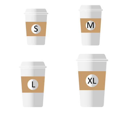 coffee to go different sizes sign. flat style. Coffee cup size S M L XL icons on white background. take-away hot cup sizes symbol. different size - small, medium, large and extra large.