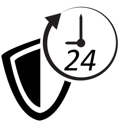 Protected 24 hour icon on white