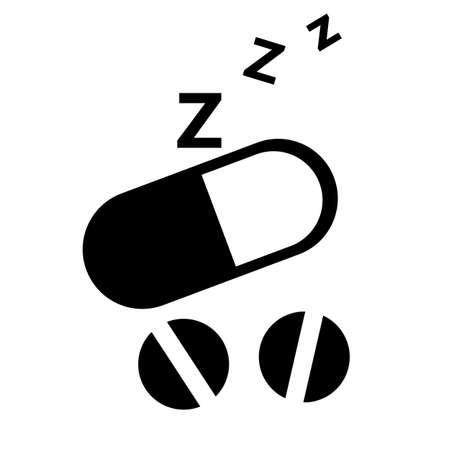 sleeping pill icon on white background. flat style. sleep sign. sleep disorder healing drugs symbol. 일러스트