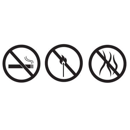 fire stop icon on white background. smoke forbidden sign. cigarette ban symbol. flat style.