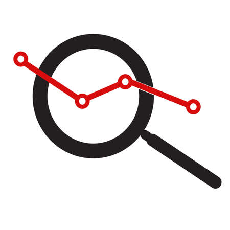 analysis icon on white background. flat style. market research sign. magnifier symbol.