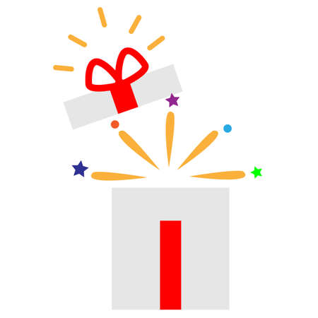 open gift box icon on white background. flat style. opened gift box with shining light and confetti. magic box sign. surprising gift symbol. special celebration logo. birthday party symbol. 일러스트