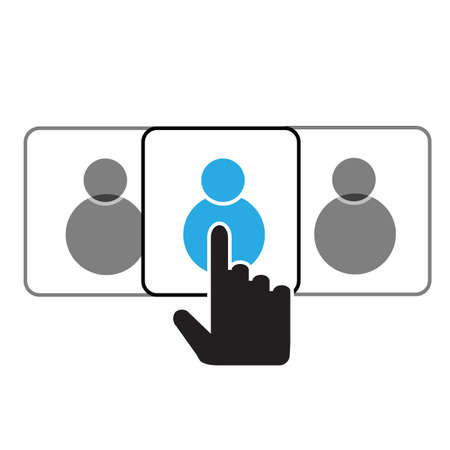 choice employe for a job icon on white background. vacancy career customer sign. recruitment symbol. flat style.