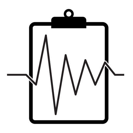 clipboard with heartbeat icon on white background. medical test sign. medical report symbol. flat style. health insurance logo.