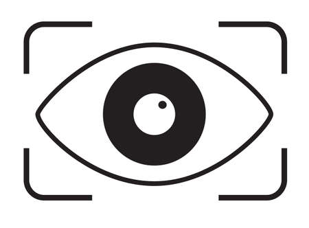 eye scan icon on white background. retina scan sign. black security lock logo. flat style. retina check symbol.