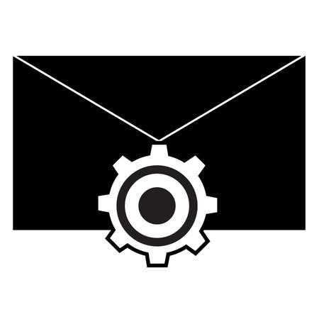 message setting icon on white background. inbox option sign. flat style. email setting symbol.