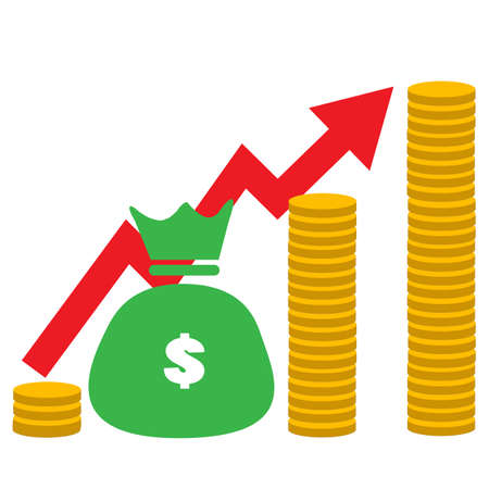 money increase icon on white background. Income increase sign. flat style. business growth profit logo. financial strategy symbol.