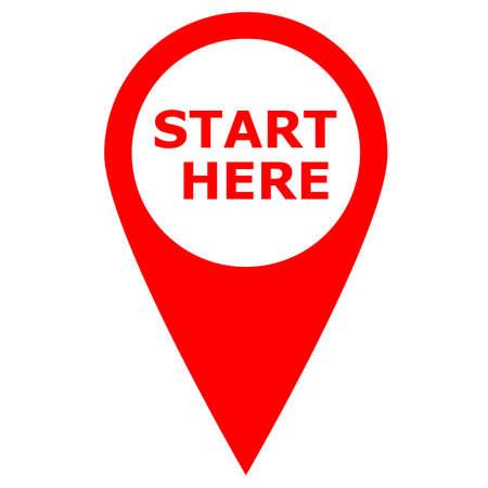 start here red icon banner design. start here symbol. banner start here sign. flat style. 일러스트