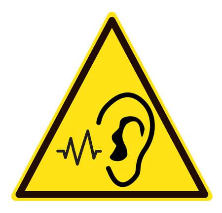 danger noise . loud noise hazard symbol. Sudden loud noise sign. flat style.